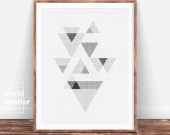 Abstract Art, Triangles Print, Black and White Geometric Poster, Geometrical, Grey Geometric Decor, Modern Abstract, Large Printable Art