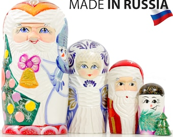 "Nesting Doll - ""Santa and Friends"" - Carved wood design - 5 dolls in 1 - MEDIUM SIZE - Hand-painted in Russia"