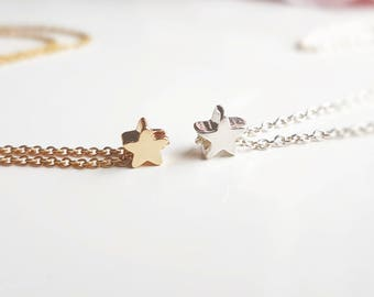 Personalised tiny sterling silver star necklace. Personalised tiny gold star necklace, star necklace. Tiny star necklace