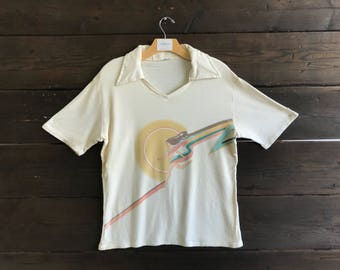 Vintage 70s Collared Graphic T-shirt