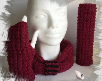 Neck wool spring + mittens for women/adults/teens, soft and comfortable wool, red color
