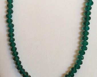 """20% OFF Crystal    Green Necklace 19"""" Long"""
