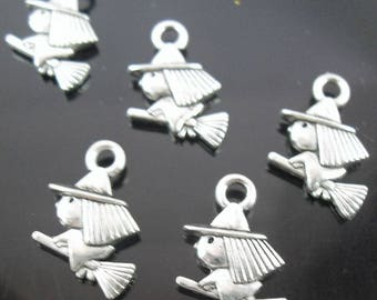 set of 5 charm silver witch on broom 11x13mm