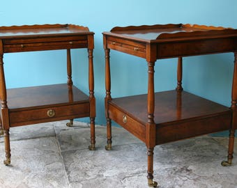 Pair of Yew Wood Side Tables