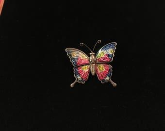 Vintage Brooch, Butterfly, Silvertone, Sparkle Colors!