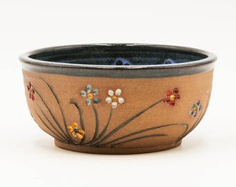 Flower Soup & Salad Bowl | Cereal Bowl | Serving Bowl | Pottery | Ceramic | Stoneware | Pottery Bowl | Ceramic Bowl | Stoneware Bowl