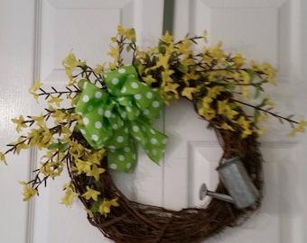 """Yellow Silk Forsythias on 14"""" Grapevine Wreath"""