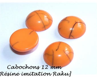 Cabochon 12 mm resin [Imitation ceramic Raku] Orange x 1