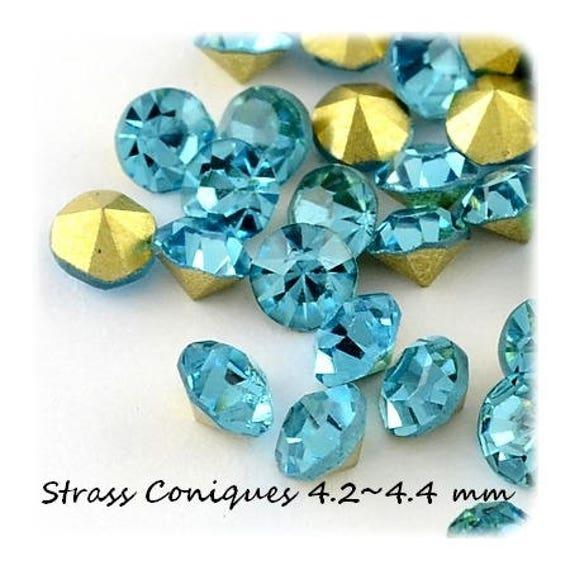 10 Strass façon Diamant 4.2~4.4 mm couleur Aquamarine
