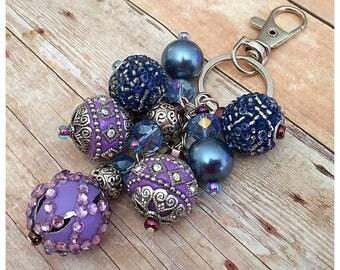 Purple Beaded Keychain, Beaded Keyring, Bag Accessories, Bag Charm, Keyring Charm, Beaded Purse Charm, Purse Accessories