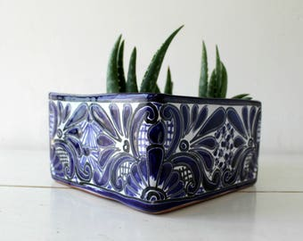 Glazed terracotta clay planter,square shape,talavera design.Cactus & succulents ceramic pot.Handmade,Hand painted,Gardener gift,hostess gift
