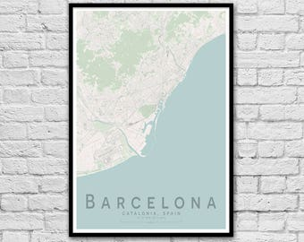 BARCELONA Spain Street Map Print | Wall Art Poster | Wall decor | A3 A2