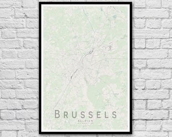 BRUSSELS Map Print | Belgium City Map Print | Wall Art Poster | Wall decor | A3 A2 16x20