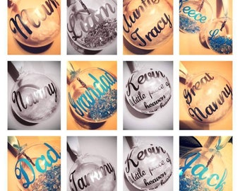 80mm 8cm personalised baubles with personalised names/messages.