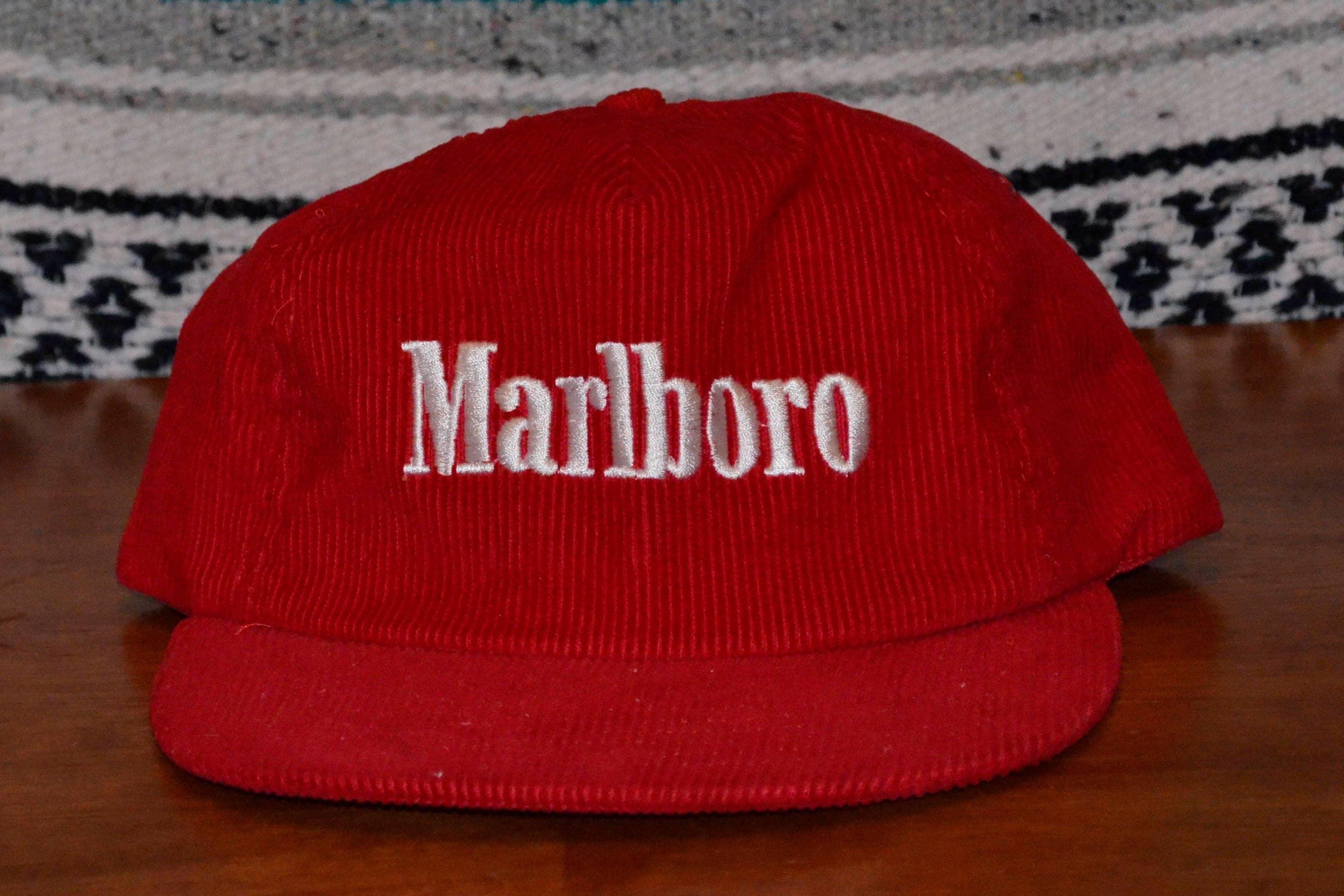 Marlboro Corduroy Red Hat Cap Adjustable Snapback  E102114044563640M ... 1b0992b45f4