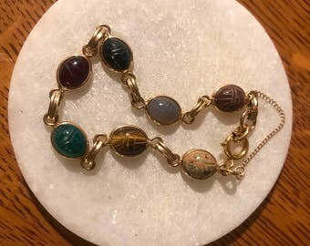 Vintage Van Dell Gold Filled Gemstone Scarab Bracelet