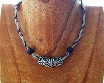 Braided Hemp Choker with Black and Silver Beads