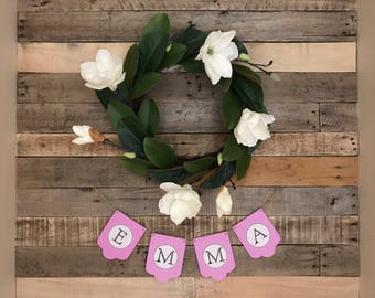 Baby Shower Name Banner / Nursery Garland / Customized Banner