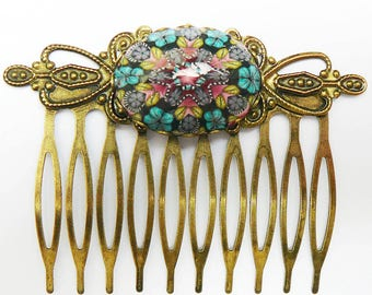 Vintage pink blue mandala comb in polymer clay and brass