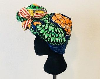 Head Wrap - African - Reversable - Kop Wrap - Groot Blare (big leaves)
