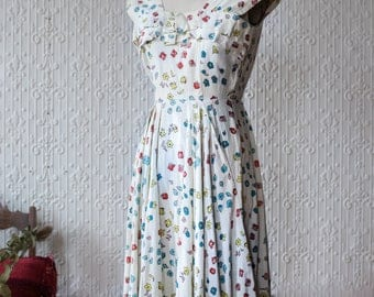 40's Linen Ditsy Floral Dress