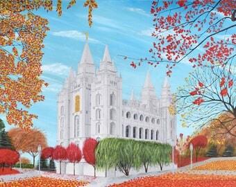Salt Lake City Utah Mormon Temple Acrylic Painting