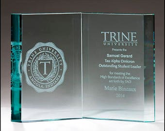 Glass open book recognition award - free engraving - laser engraved