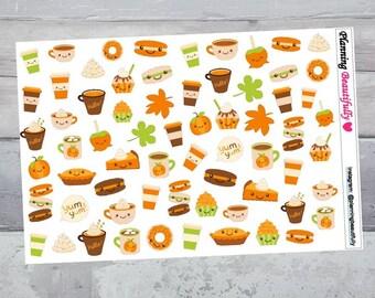 Thanksgiving Stickers, Kawaii Stickers, Erin Condren Planner Stickers, Happy Planner Stickers, Autumn Stickers, Fall Stickers, Eclp Stickers