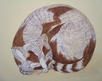 Sleeping cat-Original painting-Watercolor cat-feline art-Tuxedo cat-mixed technique on antique cardboard