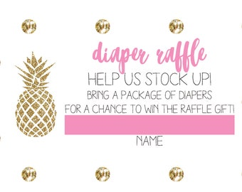 Pineapple & Pearls Diaper Raffle Cards | Baby Shower Insert | Digital Download