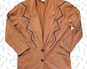 Microfiber Camel Blazer with Beading and Threading Detail