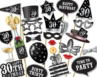 30th birthday Photo Booth props - Instant Download printable PDF. Thirtieth birthday party Photo Booth supplies. Thirty Today - 0172