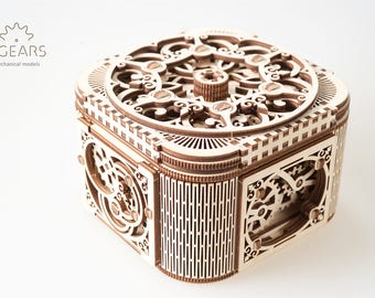UGears Treasure Box 3D Wooden Puzzle, Mechanical Model for Self-Assembling, Brain Teaser Craft Set for Teens and Adults