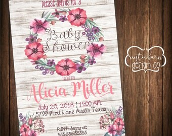 Rustic Wooden Flower Baby Shower Invitation-5x7 Custom Invitation- Digital Download/PRINTABLE