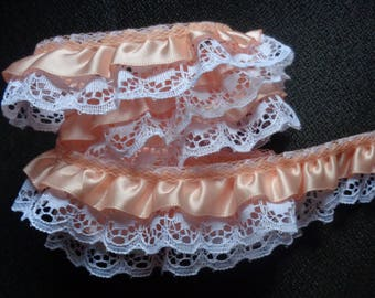 3/4 inch wide ruffled lace peach/white price for 1 yard