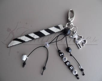 Zebra personalized with name Keyring