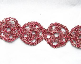 Crocheted red and pale gold Wire Bracelet