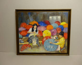 "NELLY ""The Studio of umbrellas"" 55 X 60 oil painting"