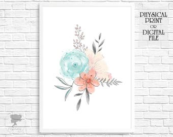 Floral wall decor, Pink flowers, Coral decor, Pink and Mint Nursery Print, Printable, Coral and Grey, Girl room, Nursery decor, Pink bedroom