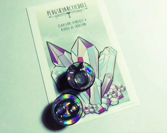 """Pair of plugs 16mm """"Holographic Astrologic"""""""