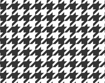 Stretchy Black and White Houndstooth Cotton Knit fabric