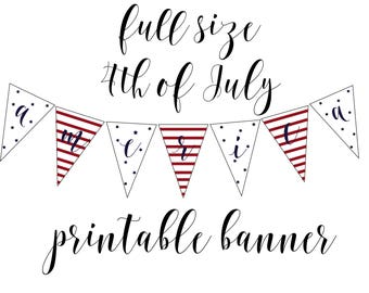 4th of July American Banner/ Party Banner/ Red White and Blue/ DIY Banner