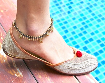 Brass Drop Anklet, Bent wire Anklet, A44