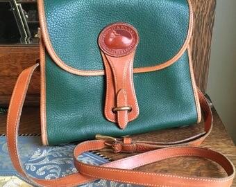 Vintage Dooney & Bourke Green Leather Purse Saddle Bag Boho Crossbody Hipster Handbag