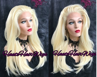 Platinum Blonde Human Hair Blend Lace Front Wig -  La Striani