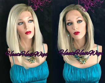 Ombre Rooted Blonde Human Hair Blend Multi Parting Lace Front Wig - Chloe