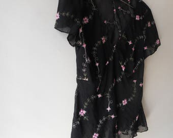 Sheer Floral 90's Blouse
