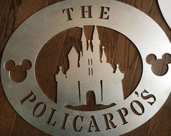 Disney castle personalized door sign