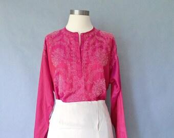Vintage silk blouse/silk tunic/shirt/top embroidered /hand stitch floral minimalist women's size S/M/L