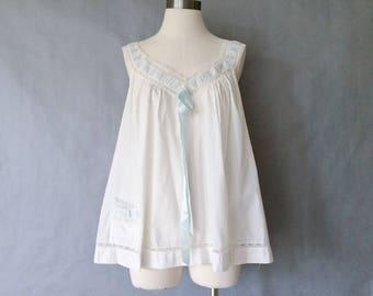 vintage sleepwear/ slip/ cotton top/ women's size M/L